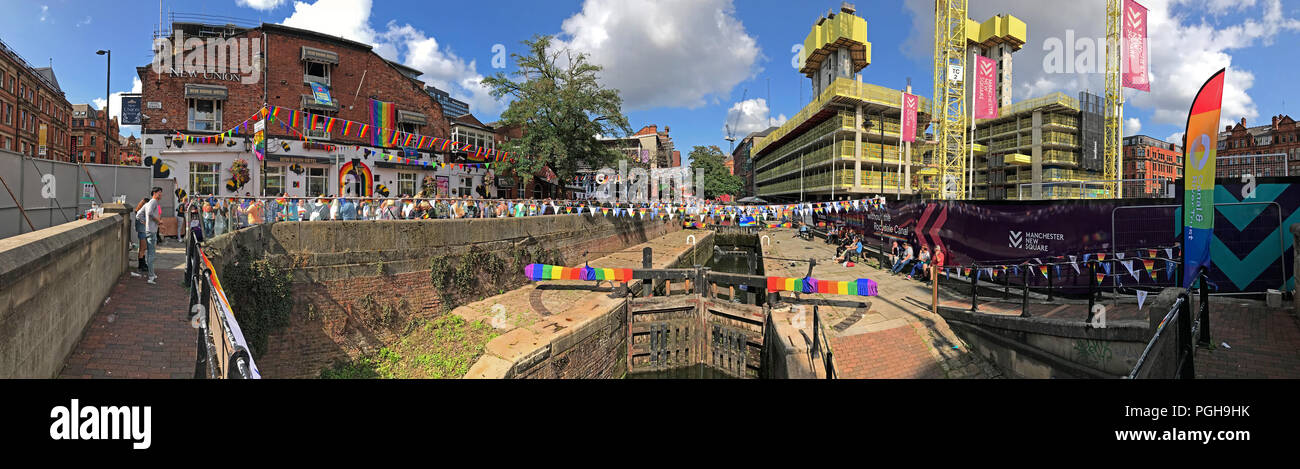 GoTonySmith,@HotpixUK,Manchester Pride,Manchester Pride Parade,New apartments,flats,City centre,city,North West England,UK,wide shot,pano,panorama,2018,Pride 2018,Lock gates,Canal Street,Anal Street,Rainbow,flags,Rainbow Flags,Gay Village,Manchester Gay Village,Manchester gay community,Party,Rochdale Canal,Gay tourists,lesbian tourists,tourist attraction,James Anderton,Gay bar,Gay bars,Gay pub,Gay pubs,The Village,Mardi Gras,Section28,Section 28,Queer As Folk,LGBT Youth North West