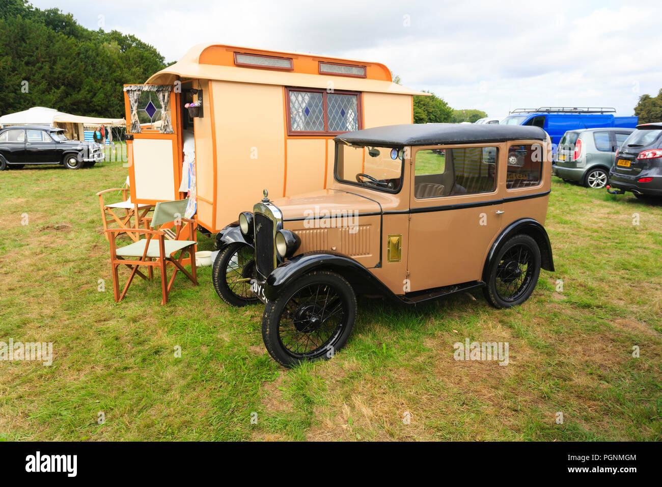 austin-seven-car-with-old-caravan-at-a-l