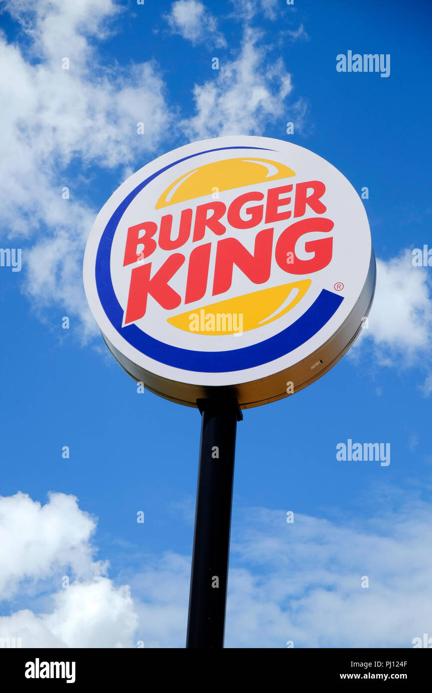 Burger King outside exterior logo sign in Montgomery Alabama, USA. Stock Photo