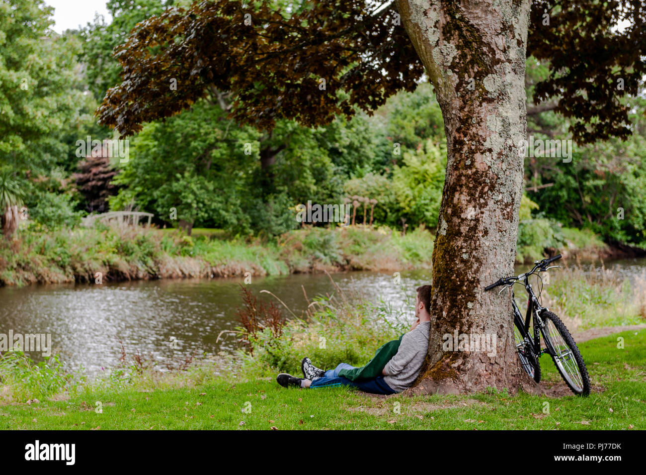 Young couple leaning against a tree in Fitzgerald Park, Cork, Ireland having a romantic moment. Stock Photo