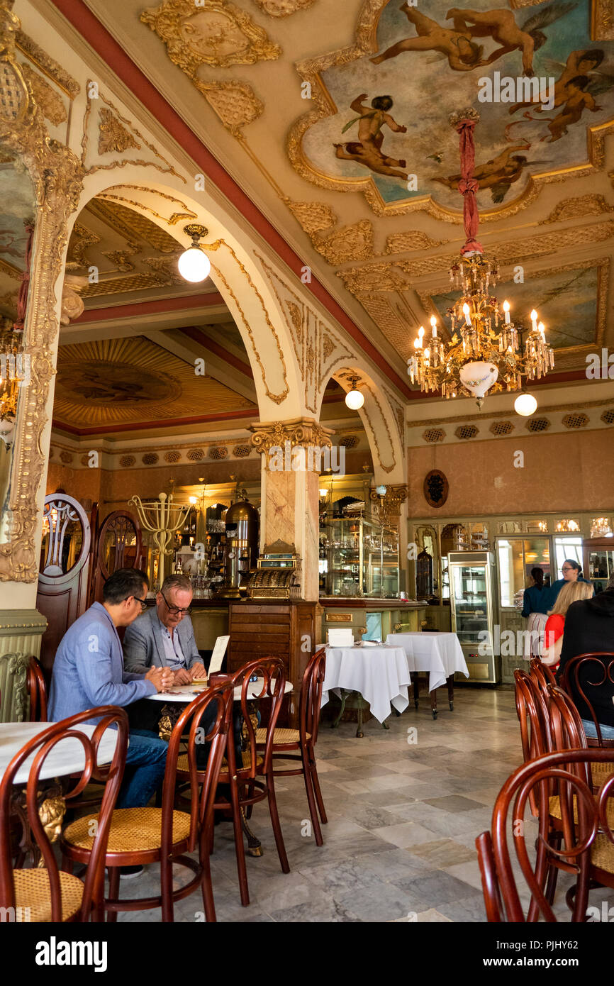 Spain, Cadiz, Plaza de Candelaria, Royalty Café traditionally decorated interior Stock Photo