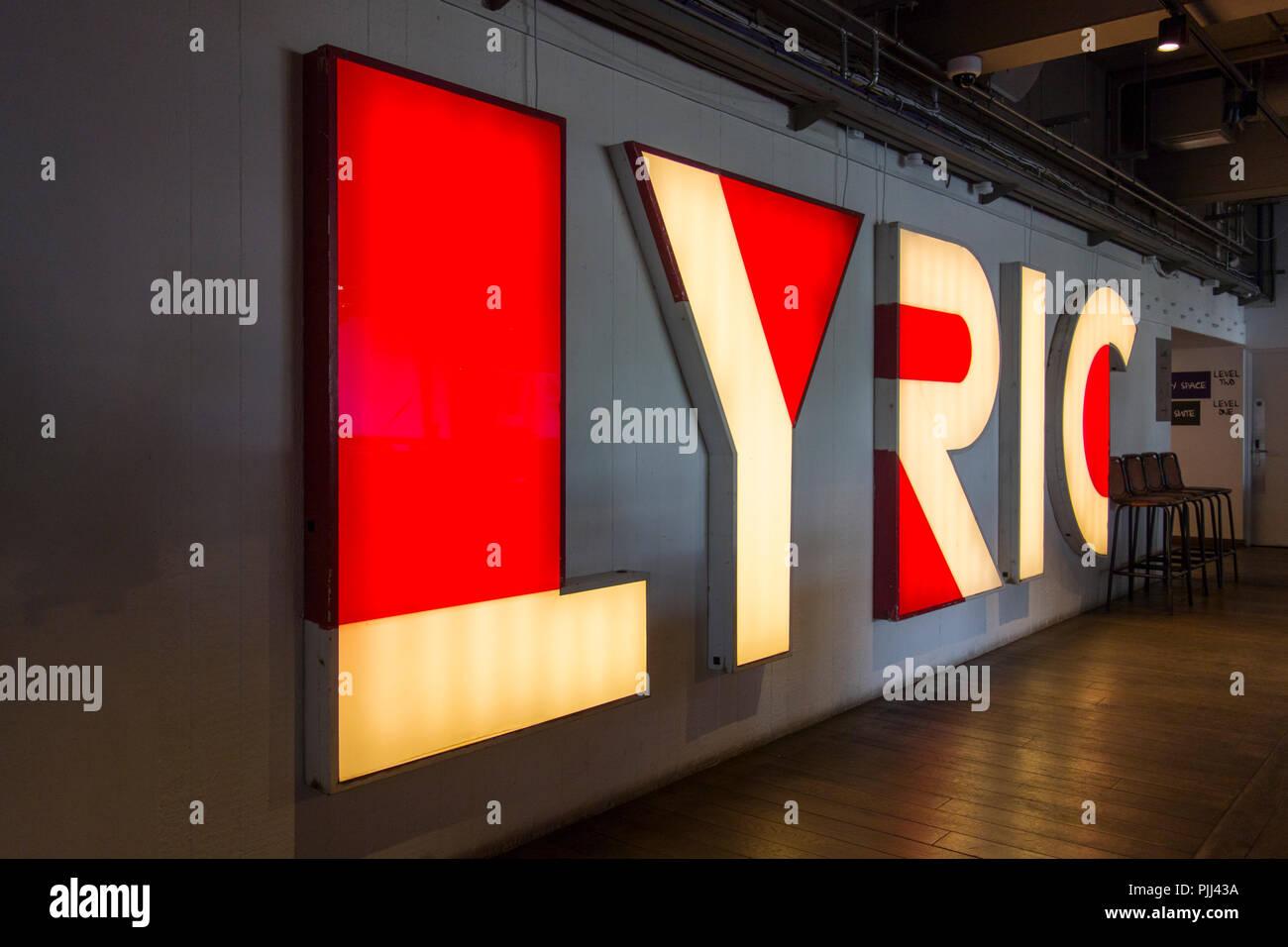 Lyric Theatre signage, King Street, Hammersmith, London, W6, U.K. Stock Photo