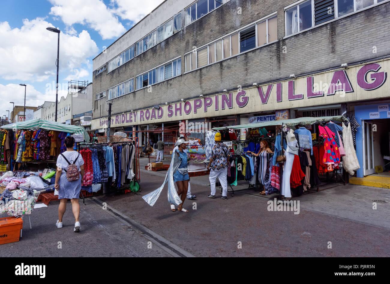 Ridley Road market in Dalston, London England United Kingdom UK Stock Photo