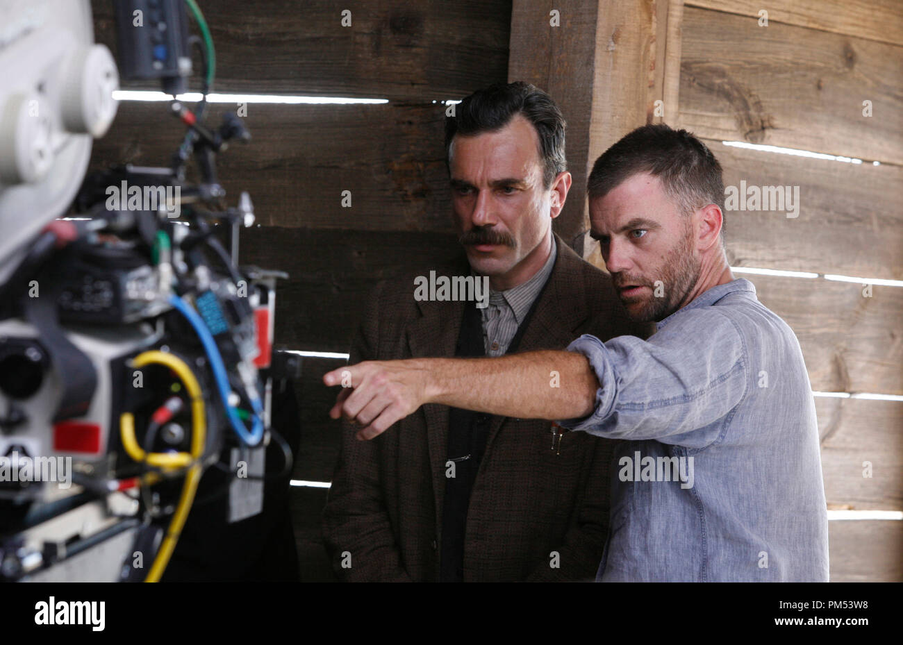 There Will Be Blood Daniel Day-Lewis, director Paul Thomas Anderson  © 2007 Paramount Vantage Stock Photo
