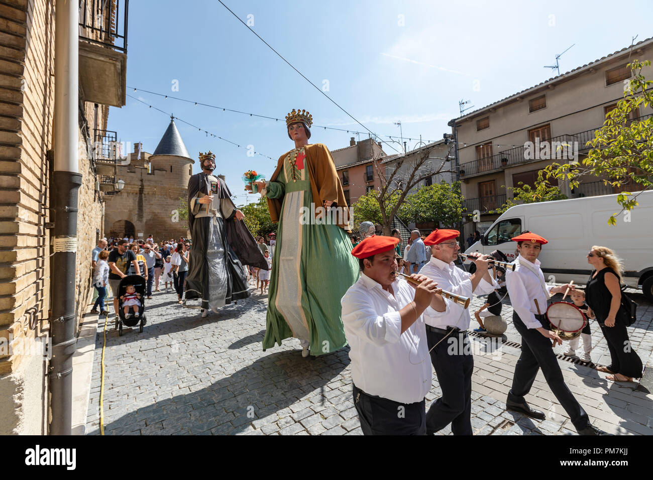 Gigantes y Cabezudos fiesta 2018, Giants and Big-Head parade, in Olite, Navarra, Spain Stock Photo