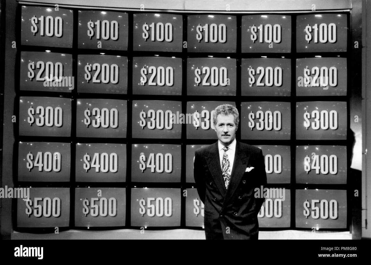 "Film still / publicity still from ""Jeopardy!"" Alex Trebek © 1993 King World Productions   File Reference # 31371258THA  For Editorial Use Only All Rights Reserved Stock Photo"