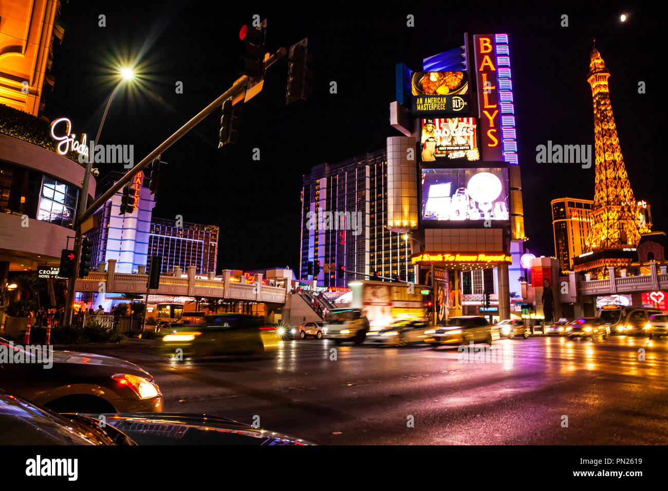 Bally's, shops and Paris in lights on the Las Vegas Strip Nevada USA Stock Photo