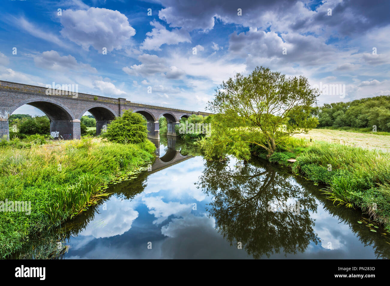 The river Soar at Stamford on Soar. Stock Photo