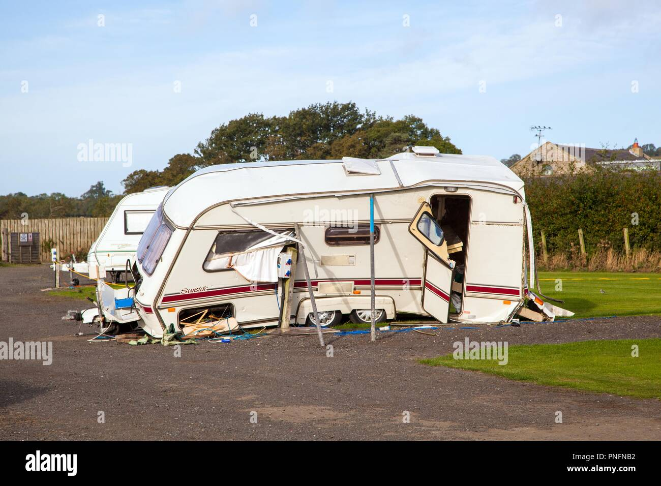 Alnwick, Northumberland. 20th Seot 2018. UK Weather: Touring caravan blown over and wrecked in high winds during storm Ali 20th September 2018 at Alnwick Northumberland England UK Credit: Nick Hatton/Alamy Live News Stock Photo