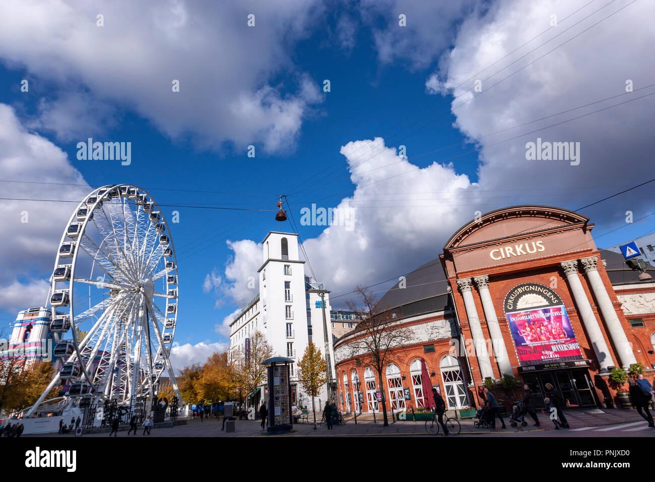 Circus Building and the Ferris wheel in Tivoli, Copenhagen, Denmark Stock Photo