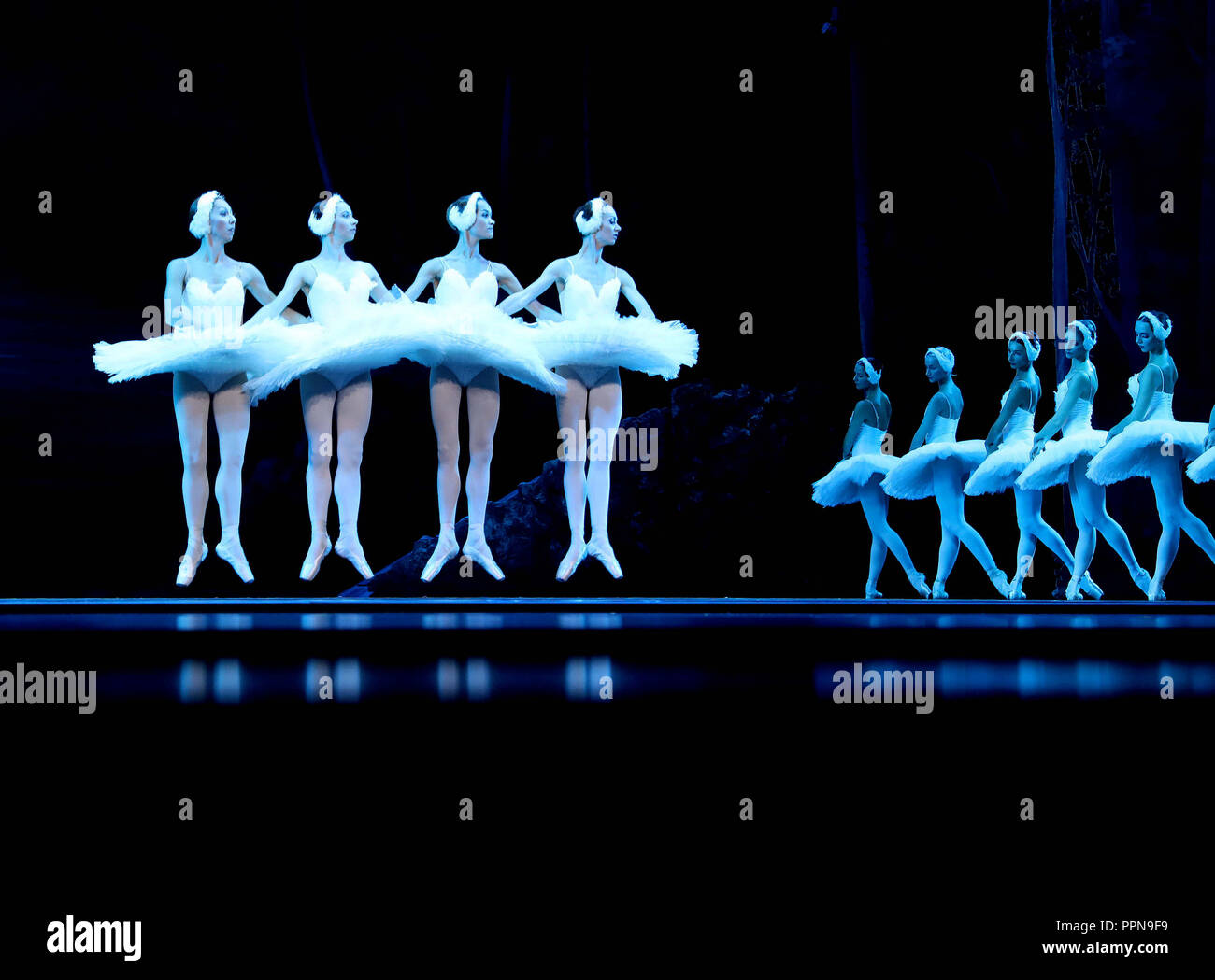 "Fuzhou, China's Jiangxi Province. 26th Sep, 2018. Dancers perform ballet ""Swan Lake"" at Tangxianzu Theater in Fuzhou, east China's Jiangxi Province, Sept. 26, 2018. Credit: Li Yong/Xinhua/Alamy Live News Stock Photo"