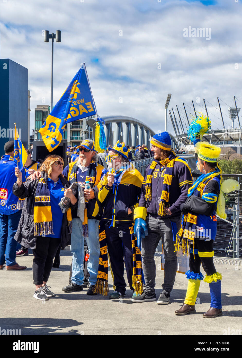 West Coast Eagles Football Club fans and supporters marching to the 2018 AFL Grand Final at the MCG, Melbourne Victoria Australia. Stock Photo