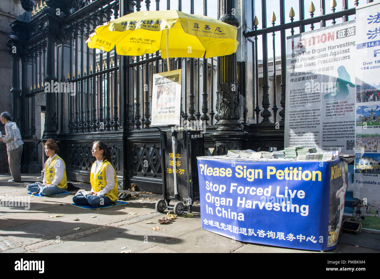 London, England, UK. 13 October, 2018.  Falun Gong practitioners protest outside the gates of the British Museum to Stop Forced Live Organ Harvesting  Stock Photo