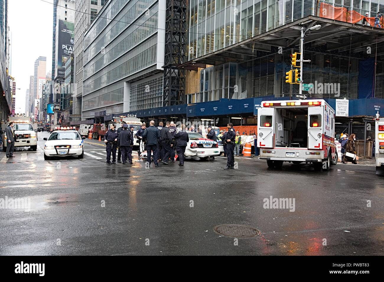 Car accident in New York city - Stock Image