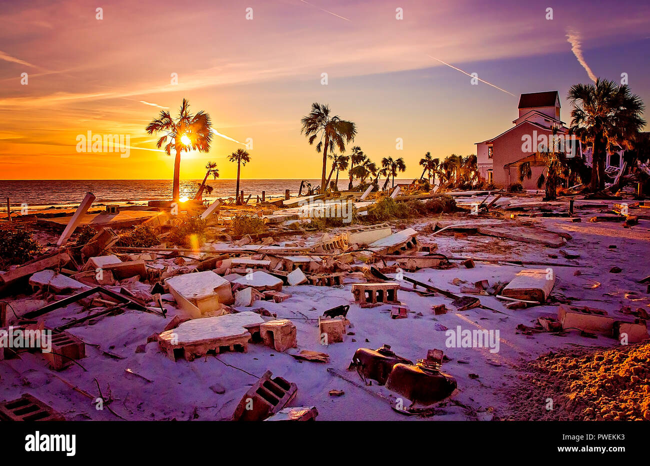 Beach homes lie in ruins after Hurricane Michael, Oct. 12, 2018, in Mexico Beach, Florida. Stock Photo