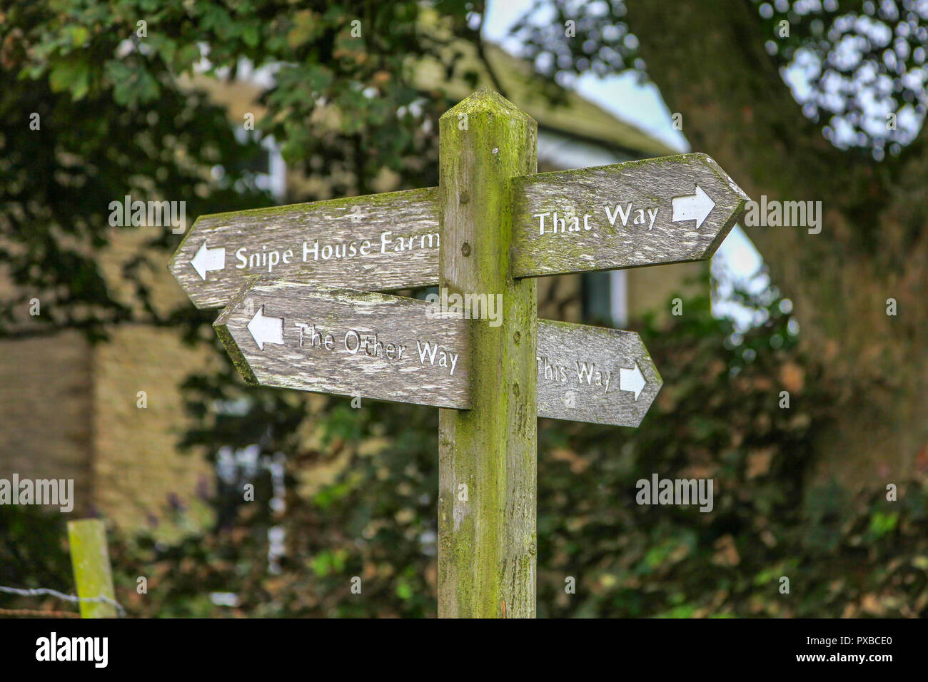 an-unusual-quirky-wooden-signpost-saying-snipe-house-farm-this-way-that-way-and-the-other-way-PXBCE0.jpg