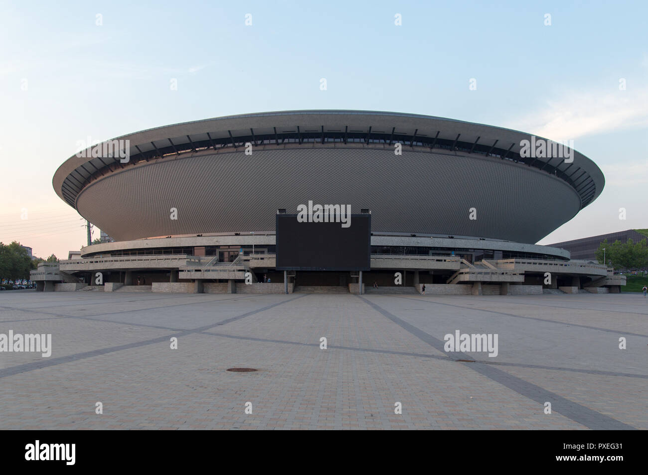 Katowice, Poland: multipurpose hall Spodek built in the shape of a flying saucer in the early seventies of the 20th century. The landmark of the city Stock Photo