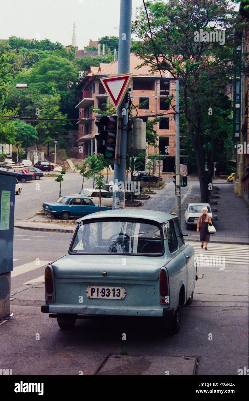 Archive image of a light blue Trabant saloon car, Budapest, Hungary, 1992 Stock Photo