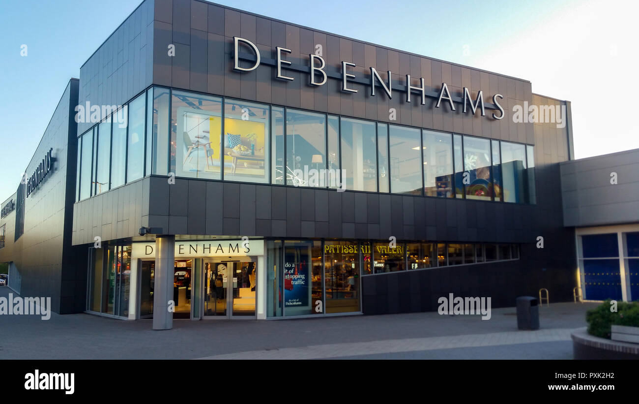 STEVENAGE, UK - OCTOBER 22, 2018: Debenhams store front in the Roaring Meg retail park at Stevenage Hertfordshire Stock Photo