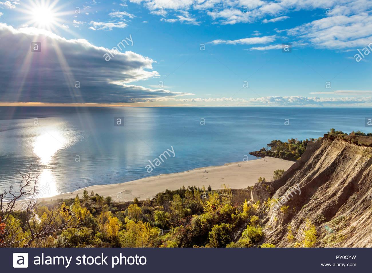 Sandstone cliff of the Scarborough Bluffs an escarpment beside Lake Ontario in Toronto Ontario Canada Stock Photo