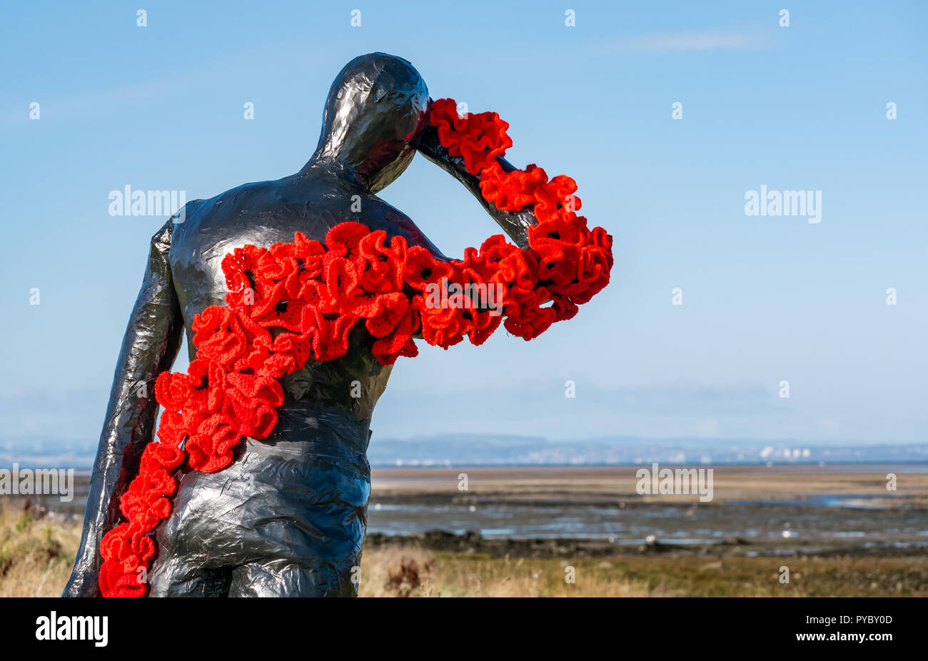 aberlady-east-lothian-scotland-united-kingdom-27th-october-2018-remembrance-day-poppies-aberlady-craft-group-have-created-a-number-of-human-figures-around-the-village-decorated-with-handmade-crocheted-poppies-as-part-of-commemorations-for-the-centenary-of-the-armistice-for-poppy-scotland-a-figure-draped-in-poppies-looking-out-over-aberlady-bay-PYBY0D.jpg