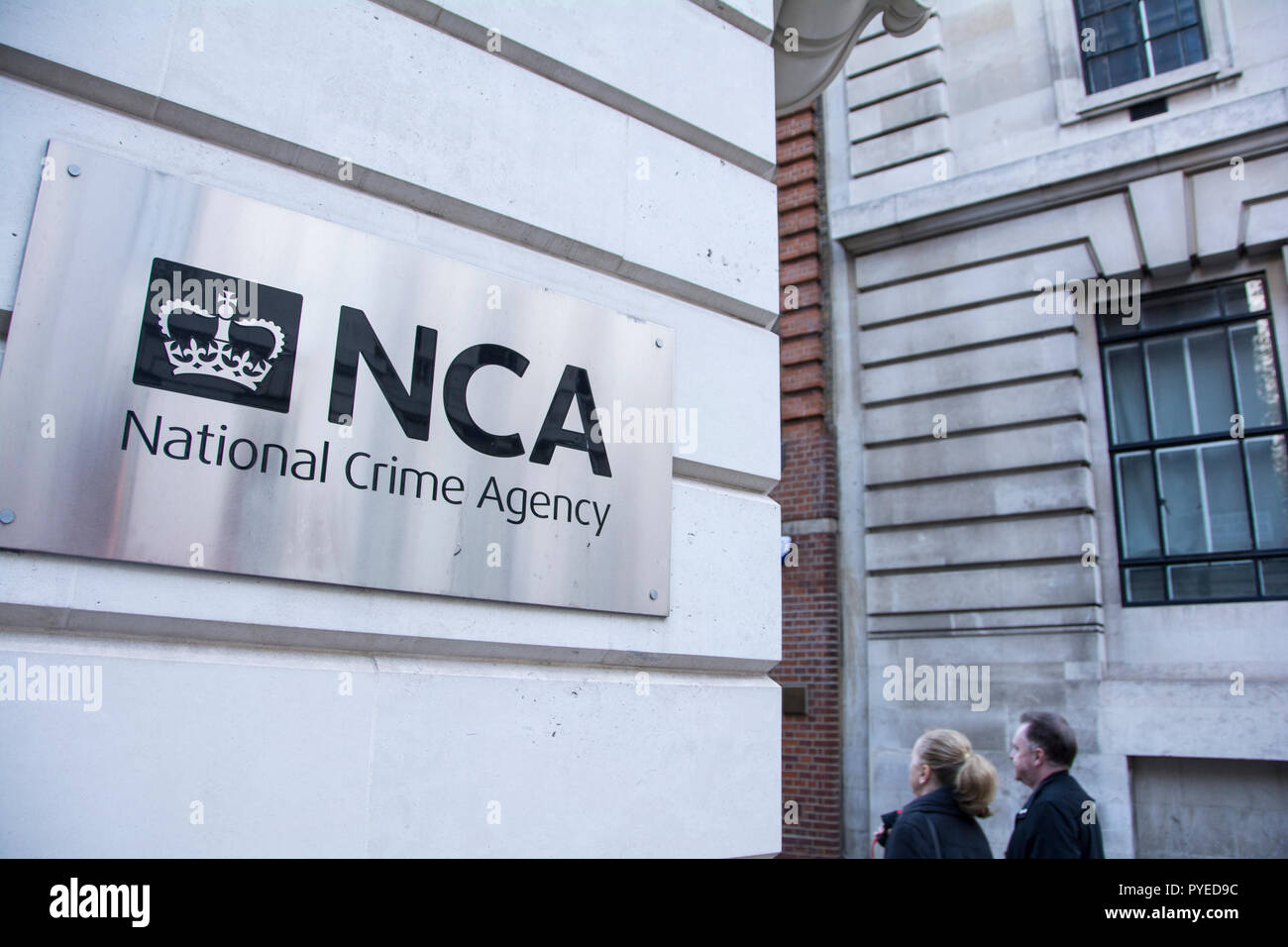 Signage outside the National Crime Agency (NCA), Old Queen Street, Westminster, London, SW1, UK Stock Photo