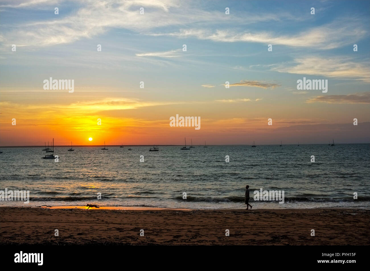 Vesteys Beach at sunset, in Darwin, Northern Territory, Australia. Stock Photo