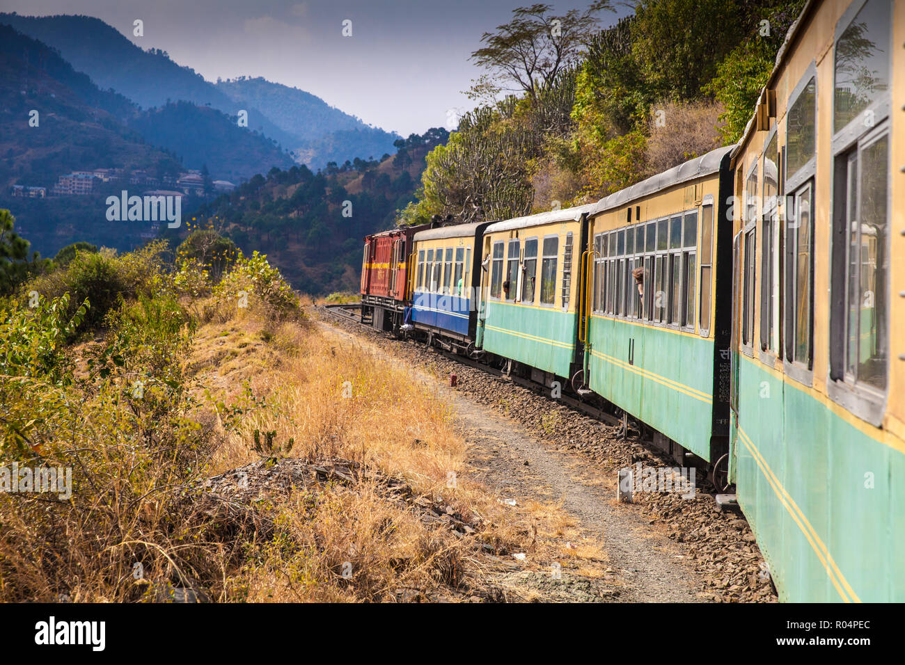 The Himalayan Queen toy train on the Kalka to Shimla Railway, UNESCO World Heritage Site, Northwest India, Asia Stock Photo