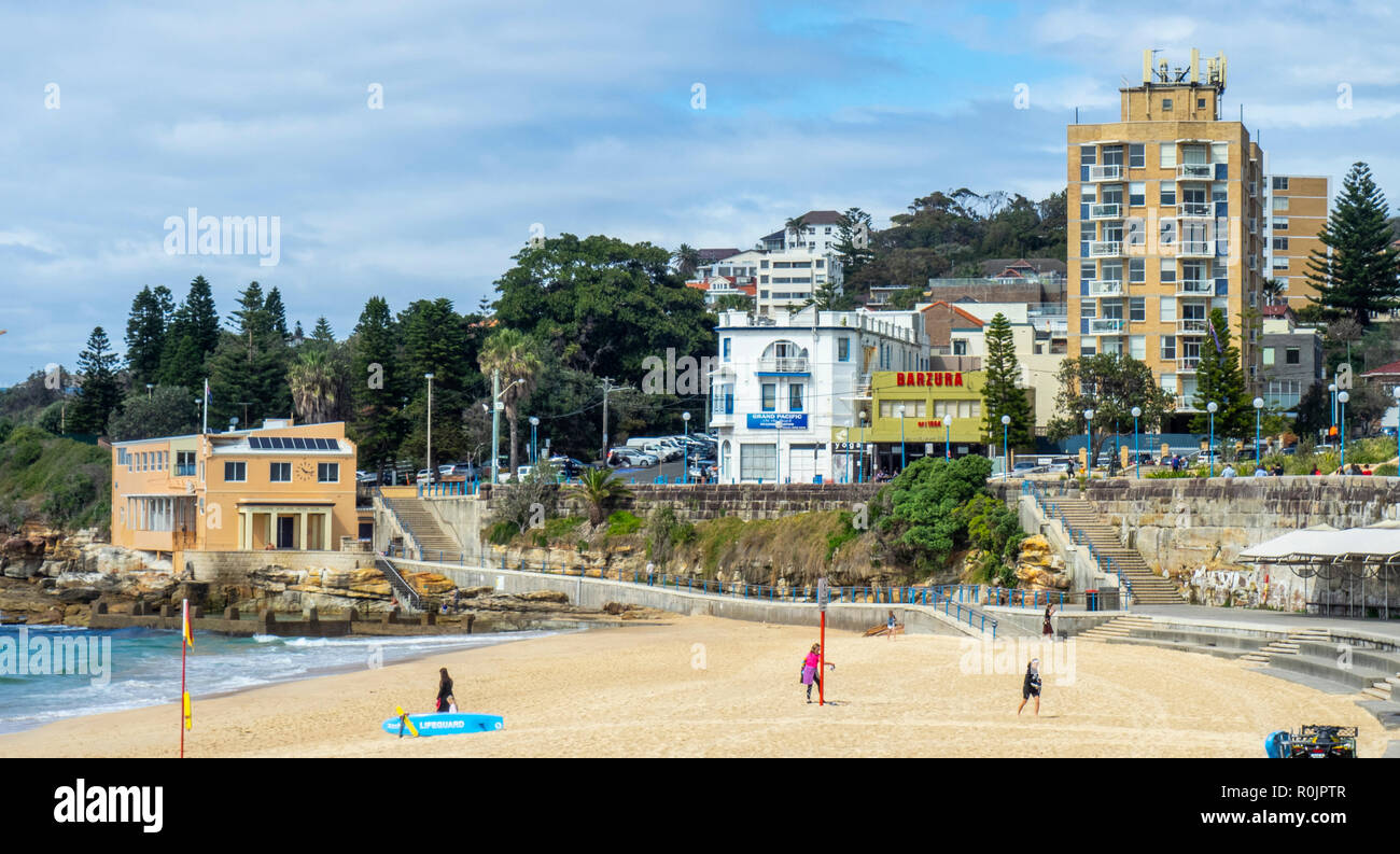 Coogee Surf Life Saving Club and Sandy Beach Sydney  NSW Australia. Stock Photo