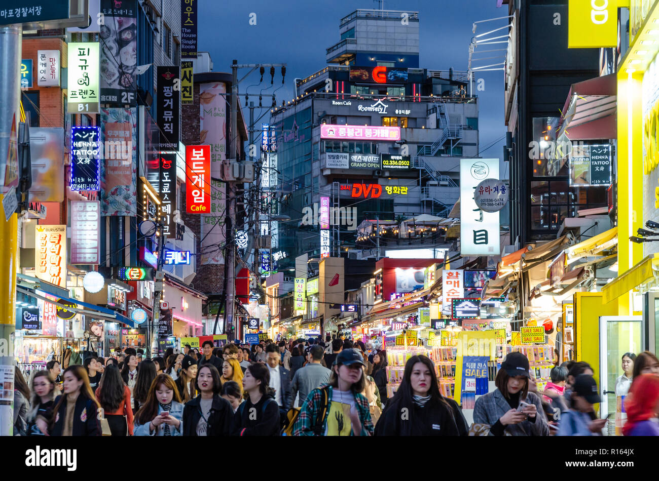 The Seogyo-Dong, Hongdae area of Seoul in South Korea, busy with people at night.Stock Photo