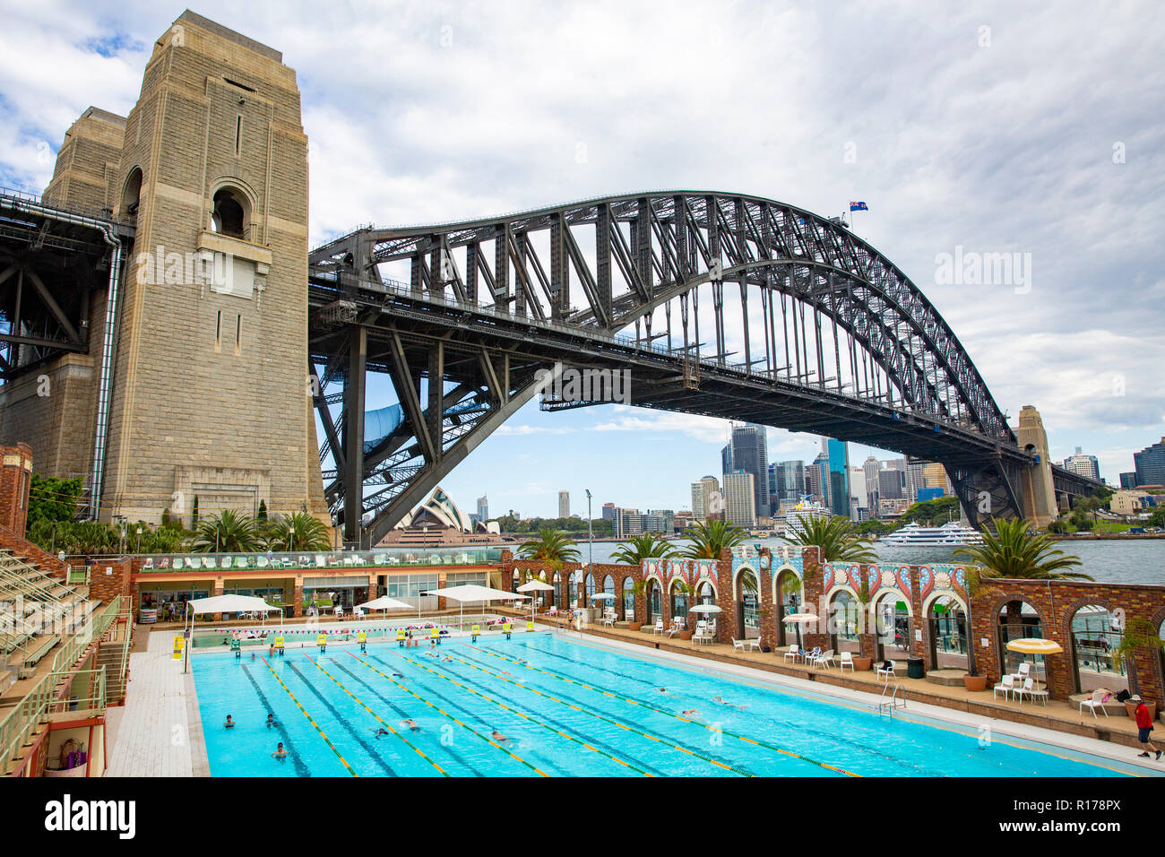 North Sydney Olympic swimming pool in Milsons point and the Sydney Harbour Bridge,Australia Stock Photo