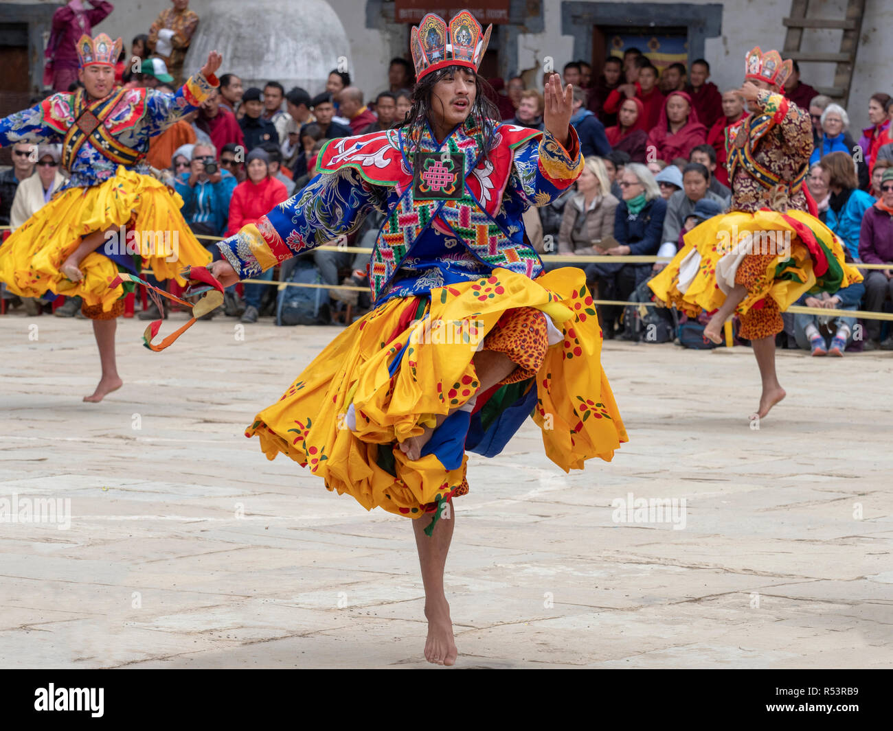 Dancers at the Black-Necked Crane Festival in Gangtey, Bhutan Stock Photo