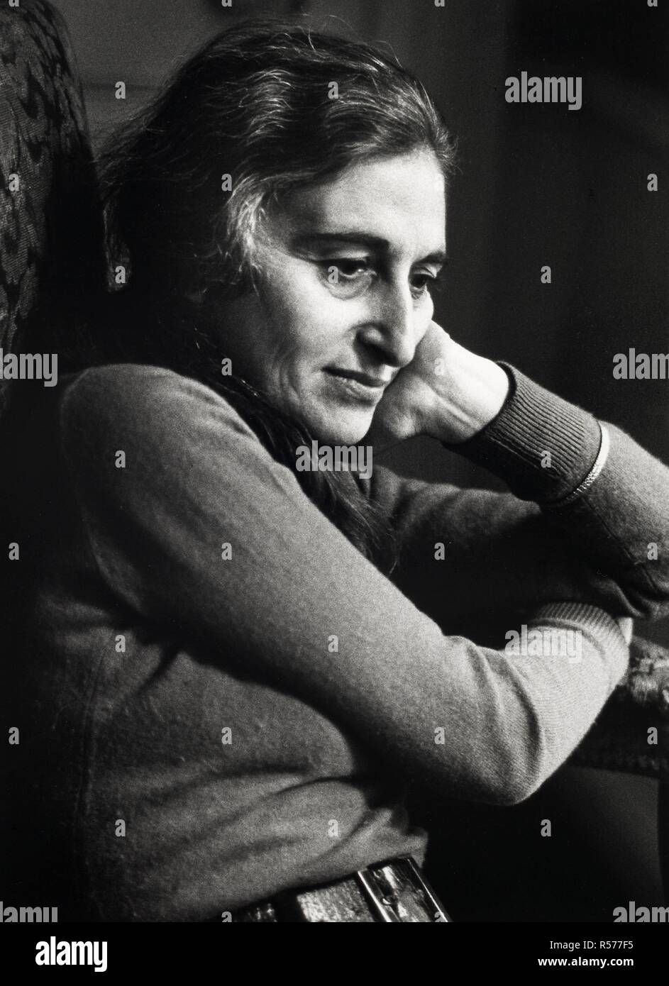 Ruth Prawer Jhabvala. Monochrome. Source: FG2499-1-23.Stock Photo