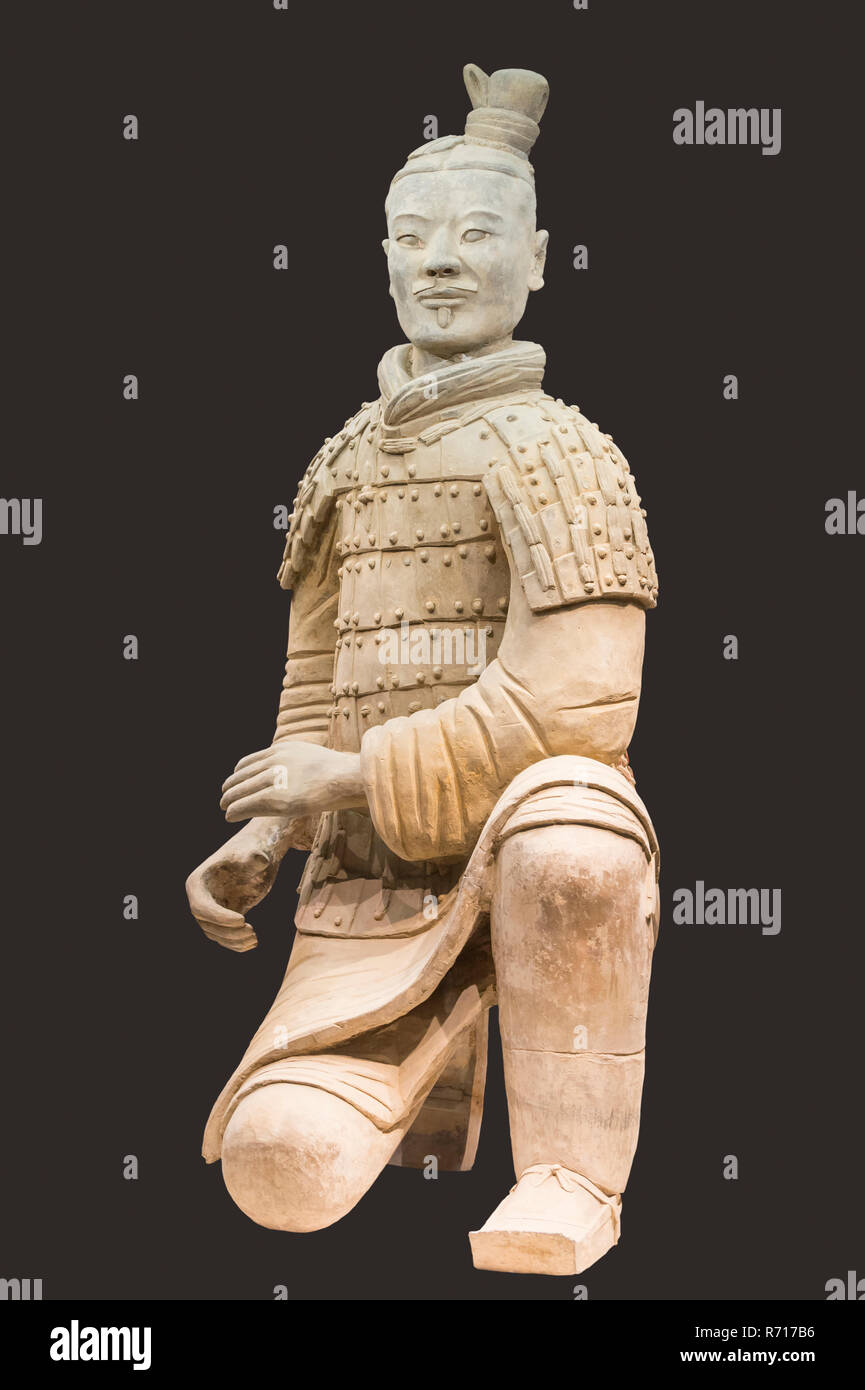 Museum of the Terracotta Warriors, Kneeling Archer, Mausoleum of the first Qin Emperor, Xian, Shaanxi Province, China Stock Photo