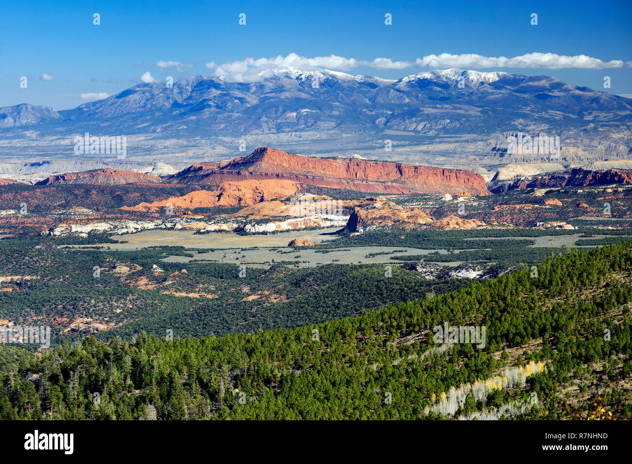 henry-mountains-and-waterpocket-fold-seen-from-larb-hollow-overlook-on-utahs-scenic-byway-12-R7NHND.jpg