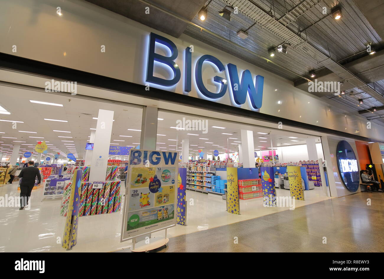People shop at BIG W store in Melbourne Australia. BIG W is a chain of discount stores in Australia and is the leading Australian department store cha Stock Photo