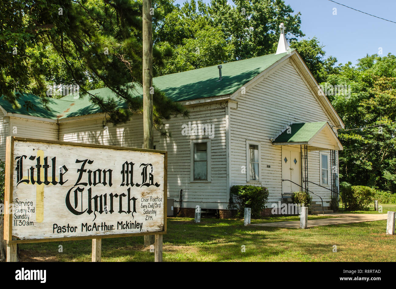 Little Zion Missionary Baptist Church is believed to be the site of blues musician Robert Johnson's grave. Stock Photo