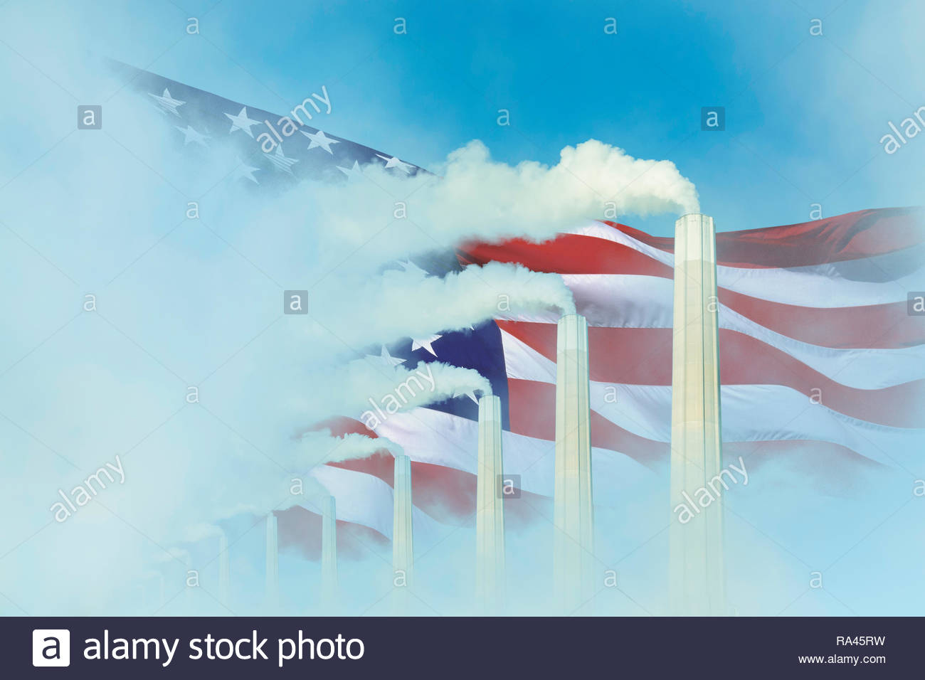 Global warming Climate change US flag smoke greenhouse gas chimney.Stock Photo