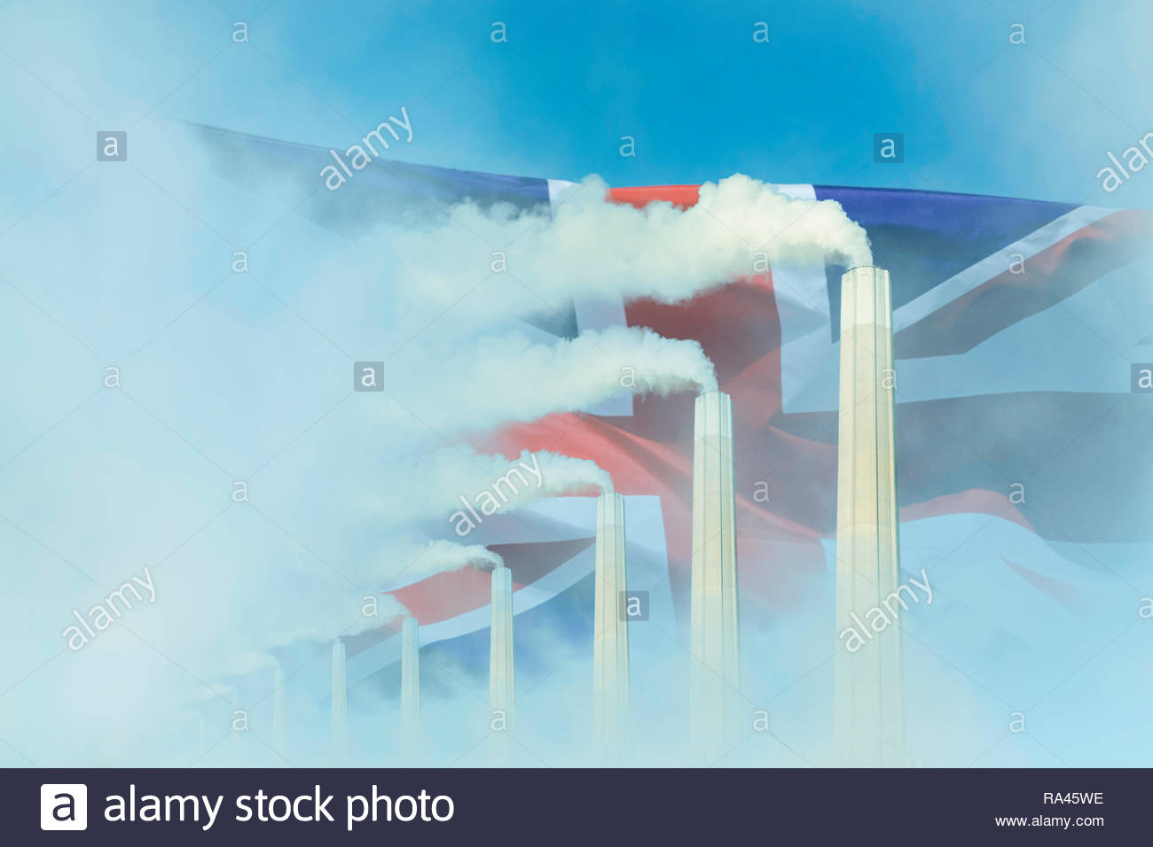 Global warming Climate change  UK flag smoke greenhouse gas chimney.Stock Photo