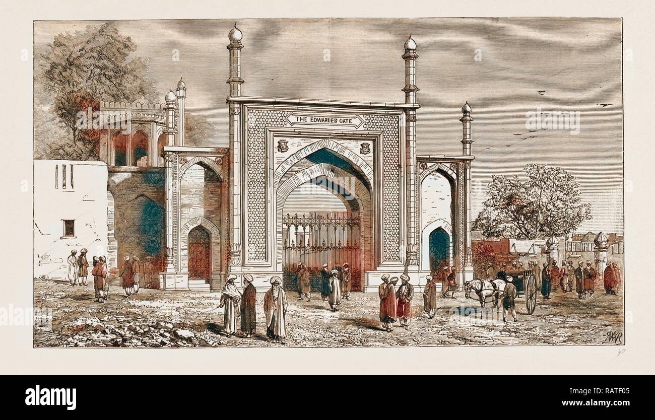 GATEWAY AT PESHAWAR, PAKISTAN, ERECTED TO THE MEMORY OF THE LATE SIR HERBERT EDWARDES, K.C.S.I., 1883. Reimagined - Stock Image