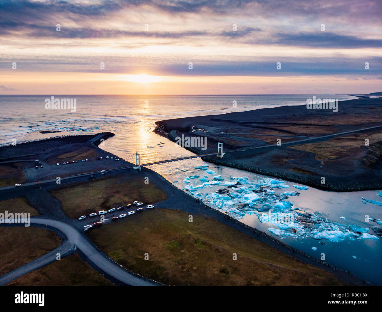 Diamond beach and Jokulsarlon Glacier Lagoon in Iceland aerial view Stock Photo
