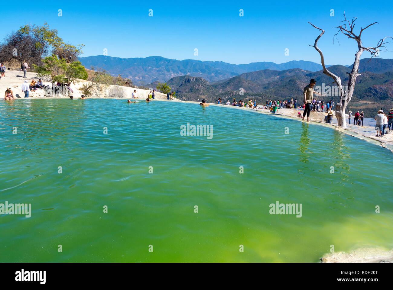 A lake done by , Petrified waterfall, Hierve el Agua, Oaxaca, Mexico Stock Photo