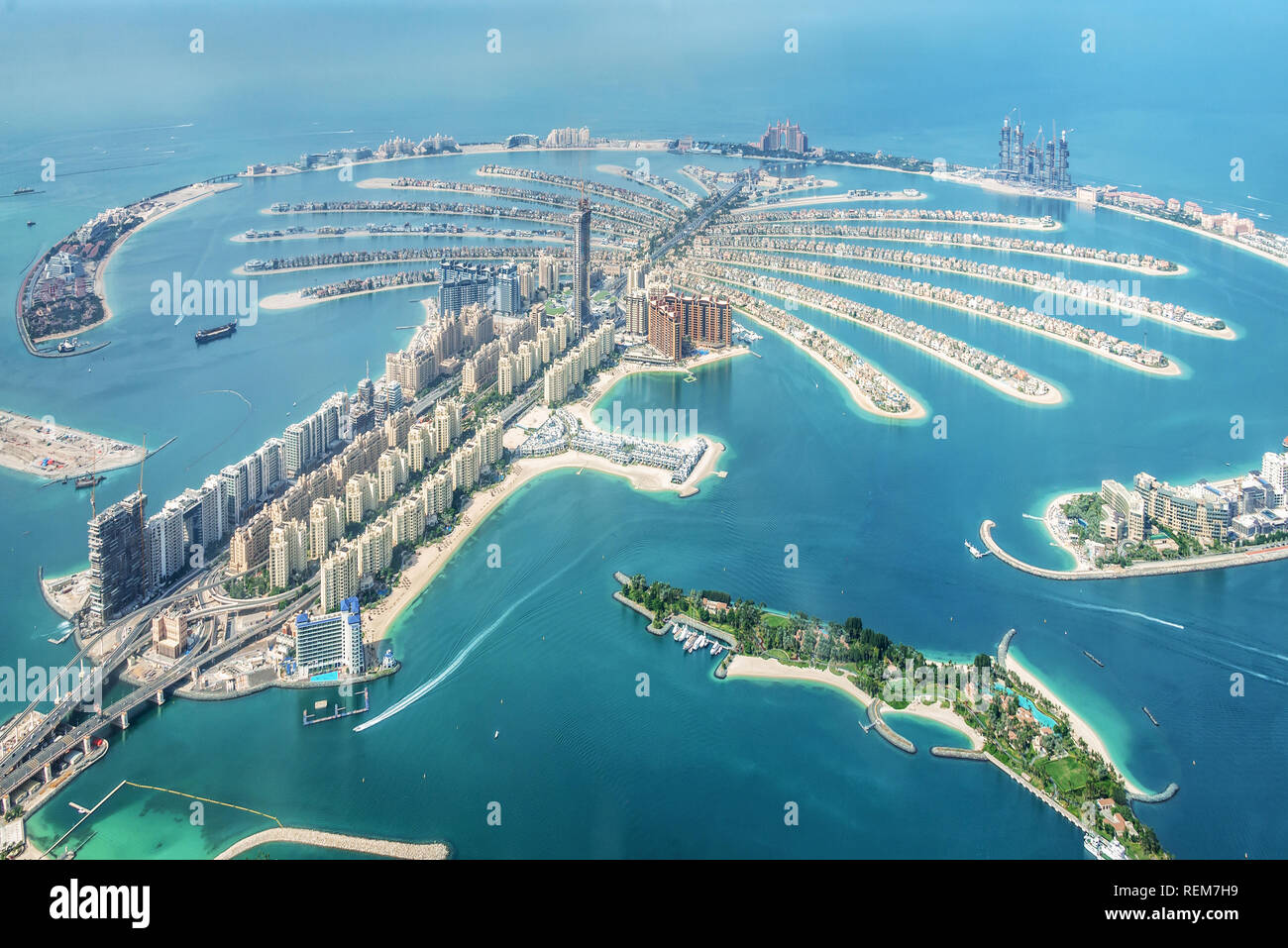 Aerial view of Dubai Palm Jumeirah island, United Arab Emirates Stock Photo