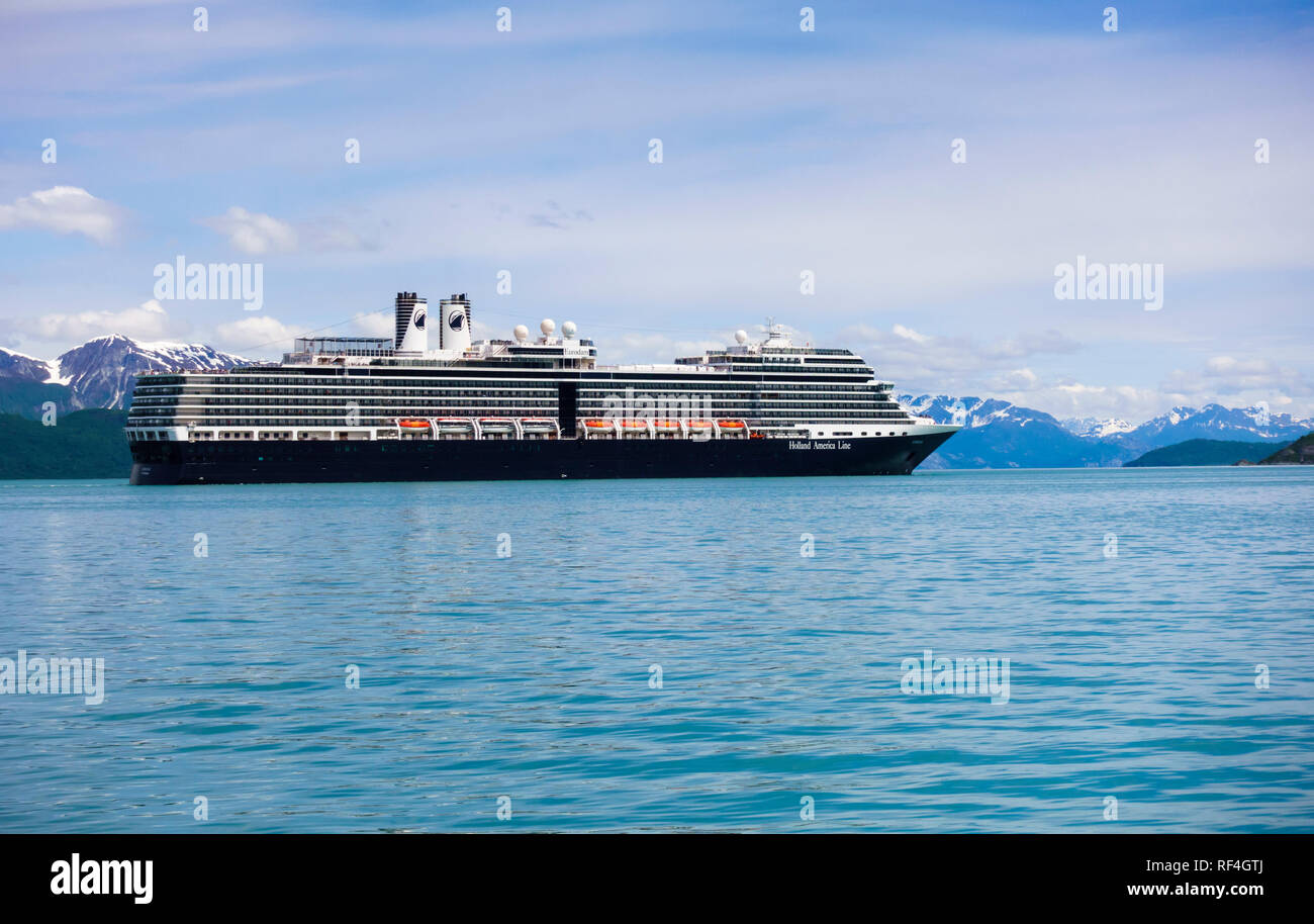 The Holland America Line cruise ship Eurodam in Glacier Bay National Park, Alaska, United States. Stock Photo