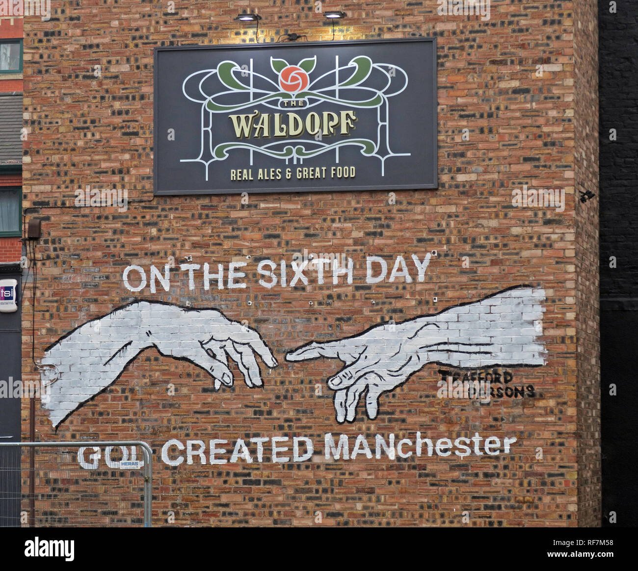 Manchester,City Centre,city,NQ,NQ4,Northern Quarter,North West,England,UK,GoTonySmith,HotpixUK,@HotpixUK,buildings,streets,fingers,hands,bar,pub,Gore Street,Piccadilly,Piccadilly Manchester,local,CAMRA,real ale,beers,Real Ales,cask ale,gable end,6th day,on the 6th day,God Created Man,Madchester,tasty food,menu,brick wall,sign,poster