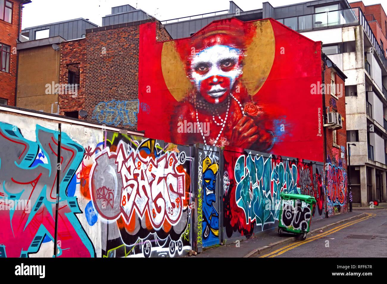 Manchester,City centre,city,@HotpixUK,HotpixUK,GoTonySmith,North West England,UK,England,urban art,art,streetart,street art,vibrant,Northern Quarter,NQ4,M1 1DF,Urban art,North West,M1,artist,artwork,urban,Aboriginal face,native,red,background,paint,painting,graffiti,Spear St