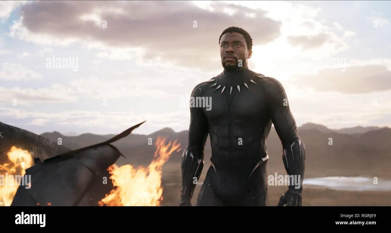 CHADWICK BOSEMAN BLACK PANTHER (2018) Stock Photo