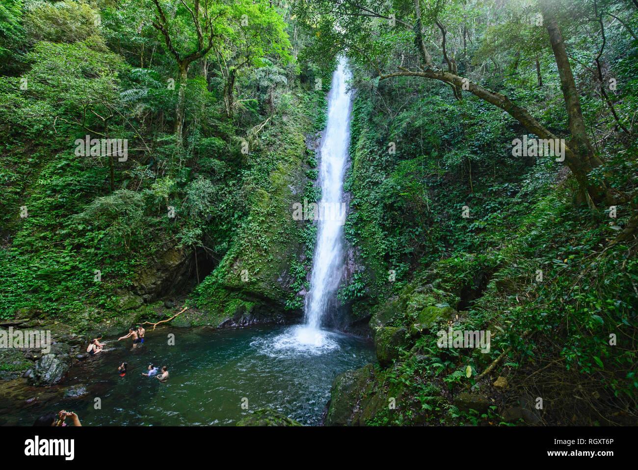 Beautiful Kabigan Falls, Pagudpud, Ilocos Norte, Philippines Stock Photo