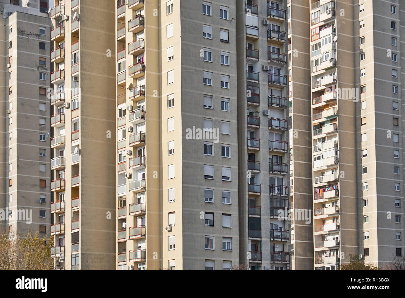 Close up of The brutalist architecture of a typical residential block in Novi Zagreb. In Zagreb, Croatia Stock Photo