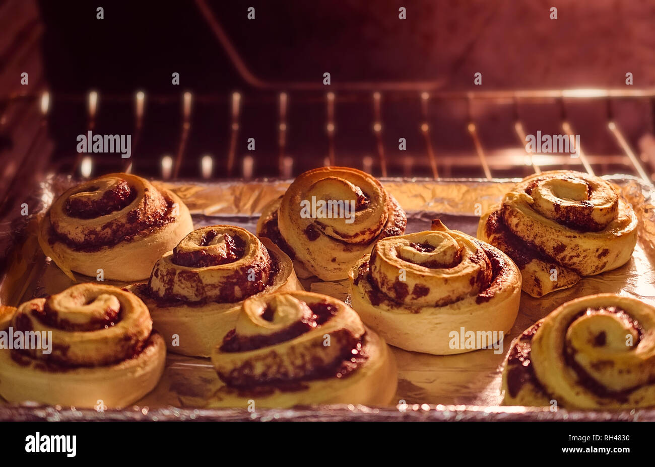 Cinnamon rolls bake in the oven, January 18, 2016, in Coden, Alabama. Stock Photo